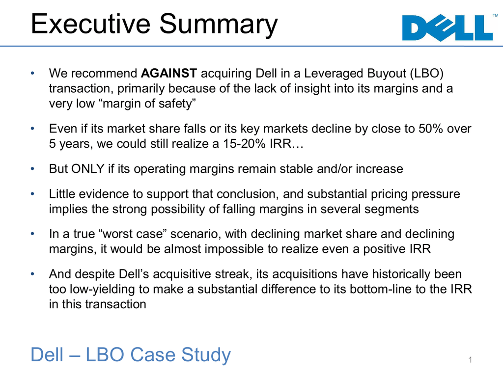 Study Little Evidence That Executive >> Dell Lbo Case Study Presentation