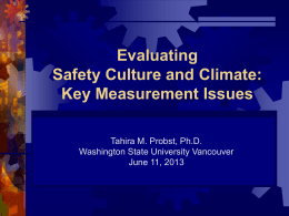 Evaluating Safety Culture and Climate: Key Measurement