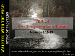 Part 14-Six things the LORD hates