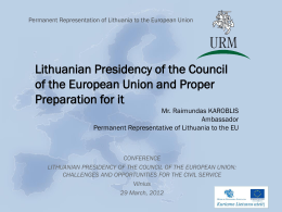 The role of the Permanent Representation during the Presidency