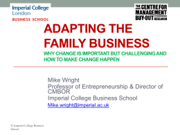 Adapting the family business