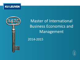 Master of International Business Economics and - FEB