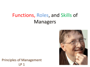LP1-Functions, Roles, and Skills of Managers