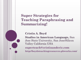 paraphrasetesol2011 - boydsteachingresources
