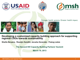 Developing a customized capacity building approach for supporting