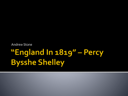 *England In 1819* * Percy Bysshe Shelly