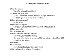 10 Steps to a Successful NGO