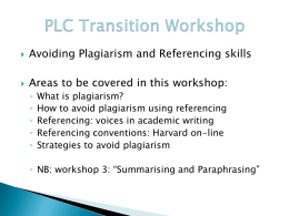 PLC Transition Workshop - University of Adelaide