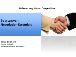 Basic Negotiation Skills Training Slideshow 2012