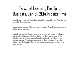 Personal Learning Portfolio
