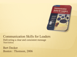Communication Skills for Leaders Delivering a clear and consistent