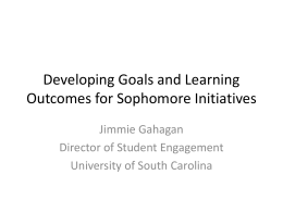 Developing Goals and.. - University of South Carolina