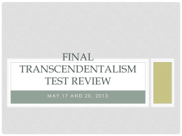 Final Transcendentalism test review