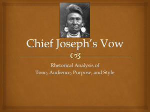 Chief Joseph`s Vow