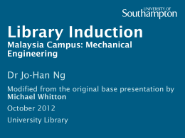 Library Induction Malaysia Campus