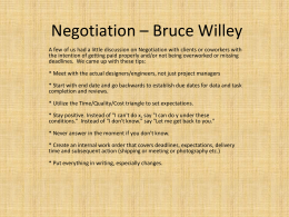 Negotiation * Bruce Willey