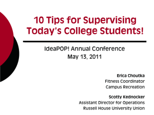 10 Tips for Supervising Today`s College Students