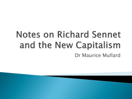 Notes on Richard Sennet and the New Capitalism