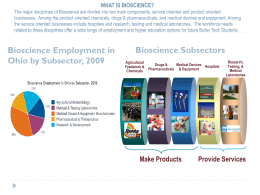 WHAT IS BIOSCIENCE? The major disciplines of