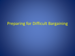 Preparing for Difficult Bargaining