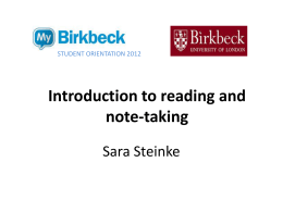 Introduction to reading and note