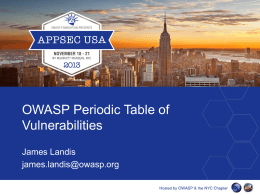 WASP Periodic Table of Vulnerabilities