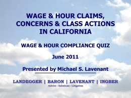 Wage & Hour Concerns - Landegger Baron Law Group, ALC
