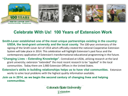 100 Years of Extension Service! - Colorado State University Extension