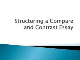 Structuring a Compare and Contrast Essay