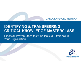 identifying & transferring critical knowledge masterclass