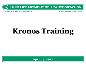 Kronos InTouch Workshop - Ohio Department of Transportation
