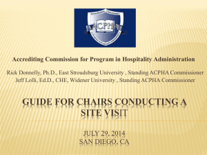 ACPHA Guide for Team Chairs Conducting a Site Visit Presentation