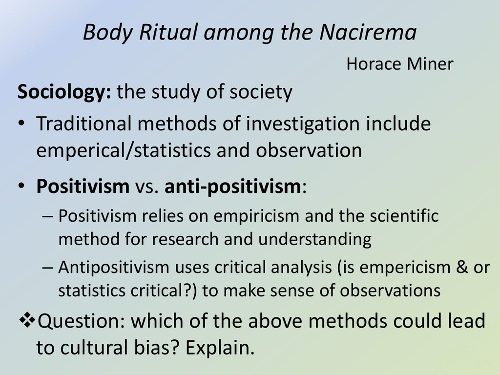 horace miner body ritual among the nacirema essay