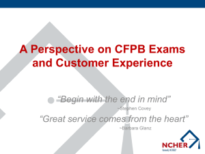 A Perspective on CFPB Exams and Customer Experience
