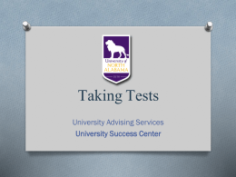 Taking Tests - University of North Alabama