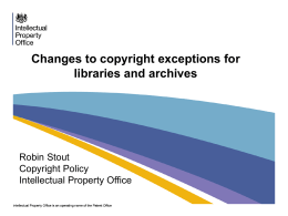 Changes to copyright exceptions for libraries and archives