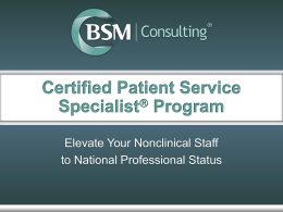 Certified Patient Service Specialist  Program Mission