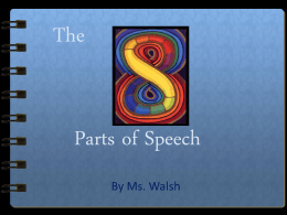 The Eight Parts of Speech Powerpoint
