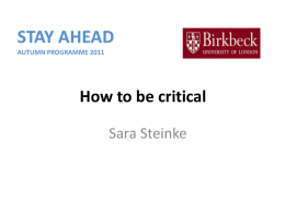 How to be Critical presentation