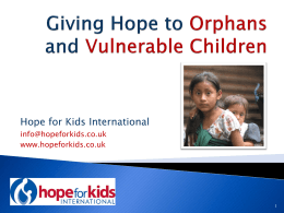 Helping to Rescue Orphans and Vulnerable Children