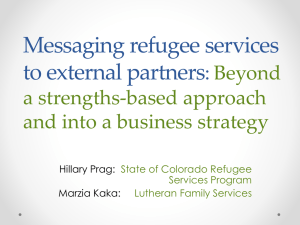Messaging refugee services to external partners