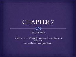 CHAPTER 7 TEST REVIEW