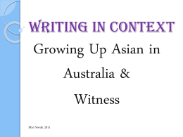 Writing in Context-Pung & Witness - Year12VCE