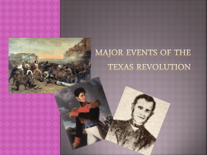 Major events of the Texas Revolution Fredonia Revolt