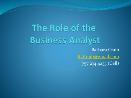 Defining a Business Analyst*s Role