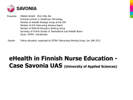 eHealth in Finnish Nurse Education - Case Savonia UAS
