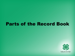Parts of the Oklahoma 4-H Record Book - 4