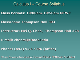 Calculus I – Course Syllabus