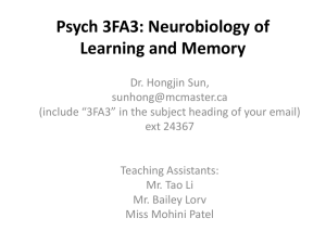 Psych 3FA3: Neurobiology of Learning and Memory
