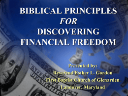 Biblical Principles for Discovering Financial Freedom